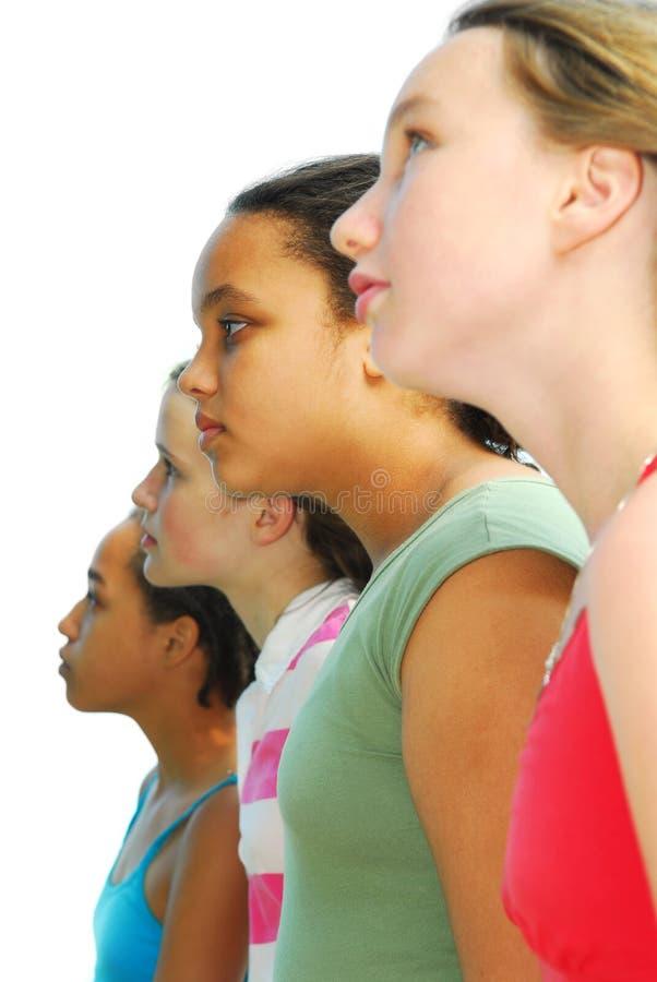 Vier Mädchen lizenzfreies stockfoto