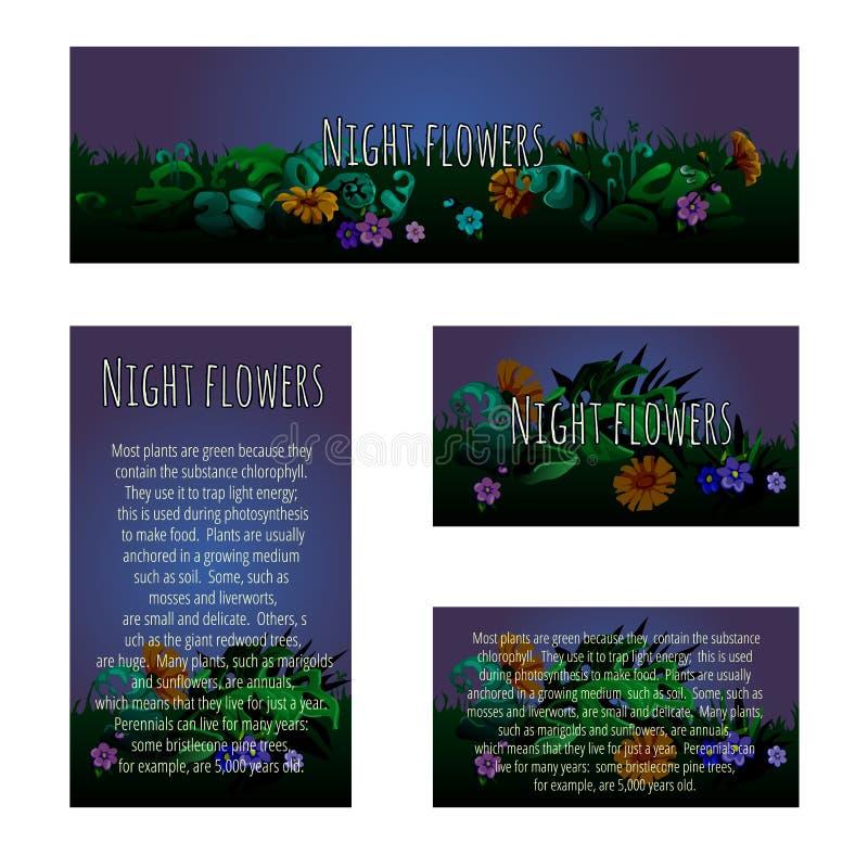 Vier magische kaarten met bloemenornament royalty-vrije illustratie