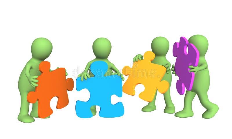 Vier Marionetten, in den Händen ein Puzzlespiel anhalten stock abbildung