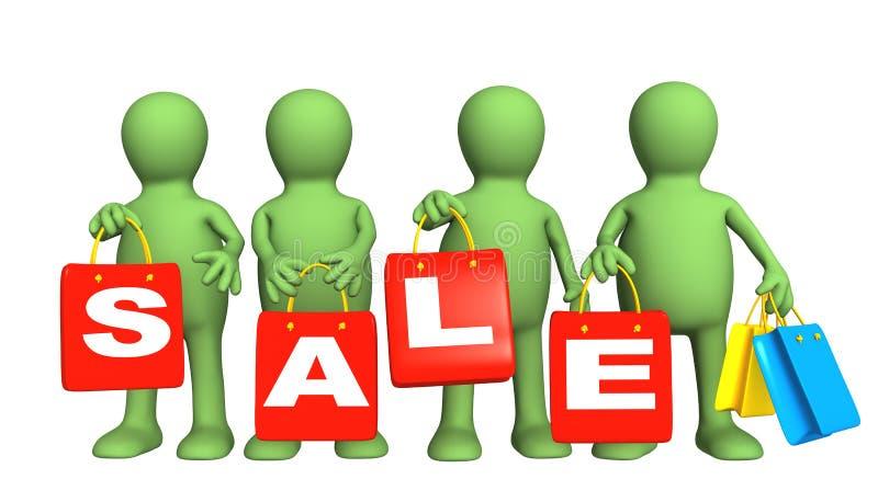 Vier Marionetten mit Paketen auf Verkauf stock abbildung
