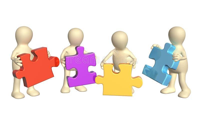 Vier Marionetten mit Puzzlespielen stock abbildung