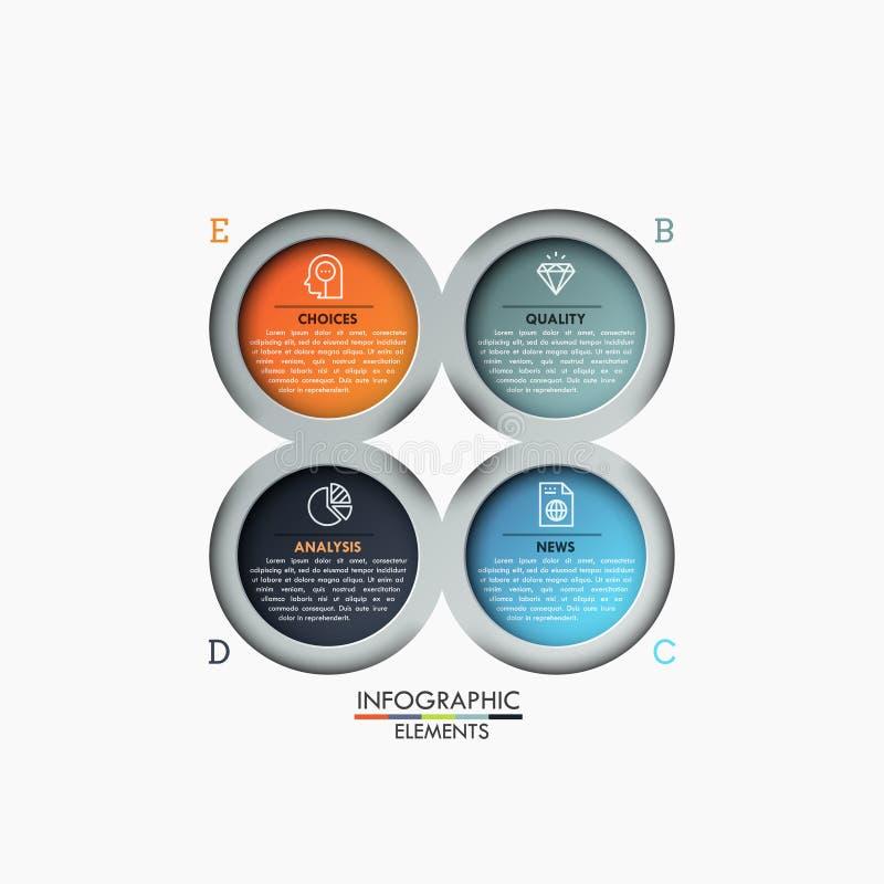 Vier mehrfarbige Kreiselemente mit Ikonen und Textboxen nach innen, 4 Schritte des Unternehmensanalysekonzeptes stock abbildung