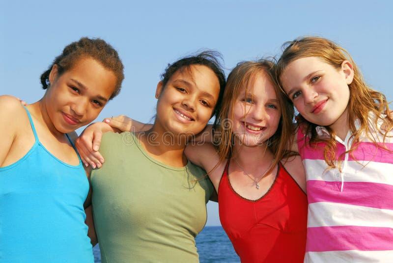 Vier meisjes royalty-vrije stock fotografie