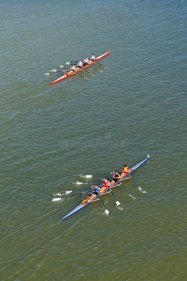 Vier mensen die op de rivier van Donau roeien royalty-vrije stock afbeelding