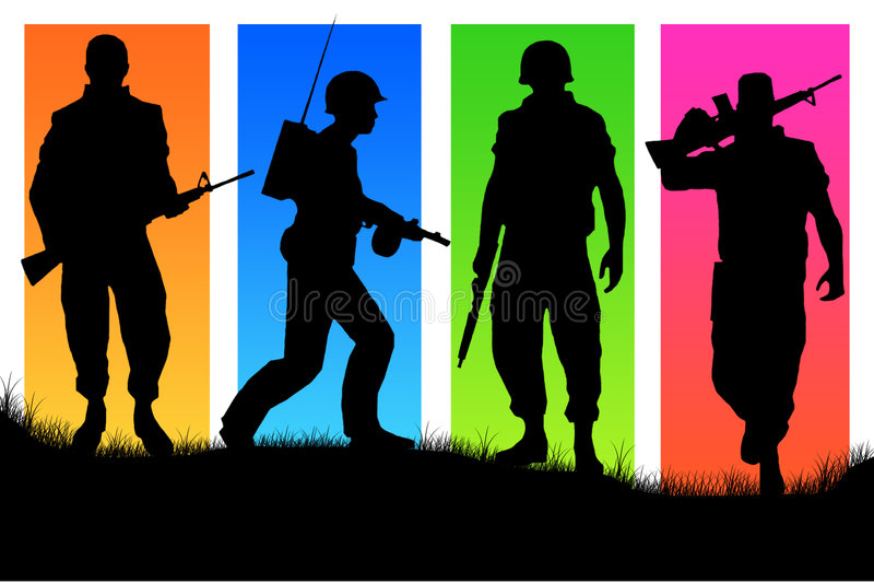 Vier militairen stock illustratie