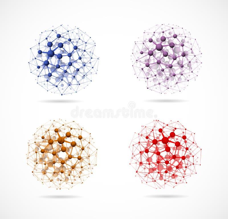 Vier moleculaire gebieden royalty-vrije illustratie