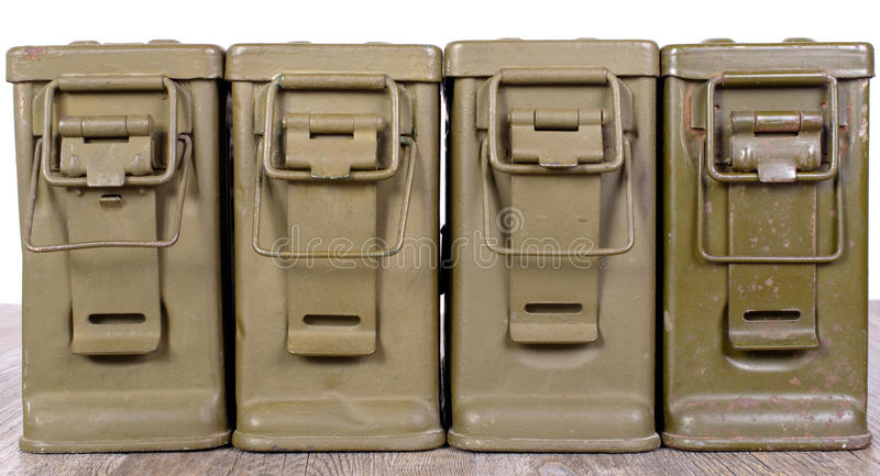 Vier munitiedozen royalty-vrije stock foto