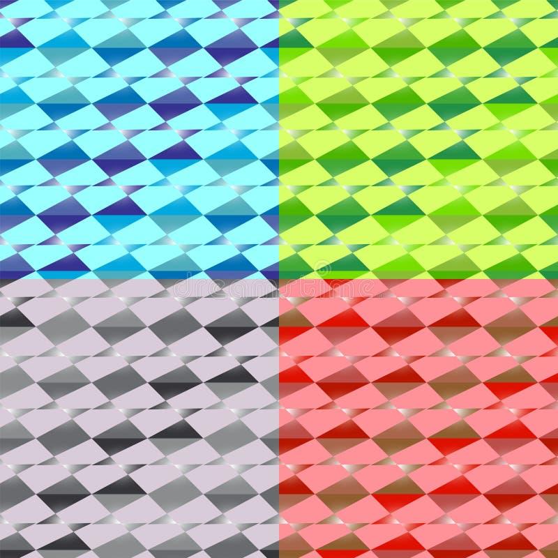 Vier Naadloze Abstracte Geometrische Patronen Reeks achtergronden van verschillende kleuren Exclusieve decoratie royalty-vrije illustratie