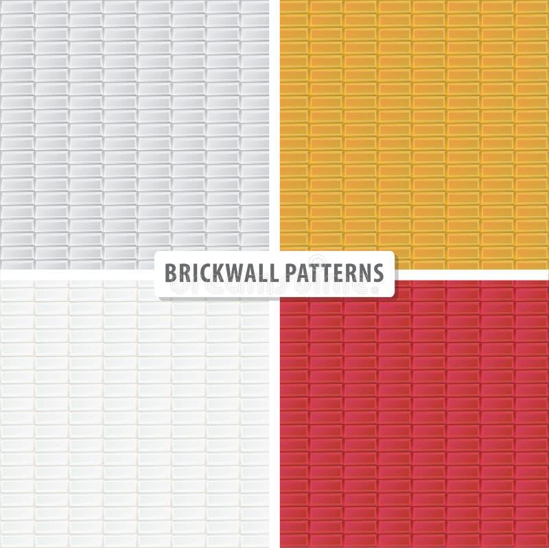 Vier nahtlose Backsteinmauerdekorationen lizenzfreie abbildung