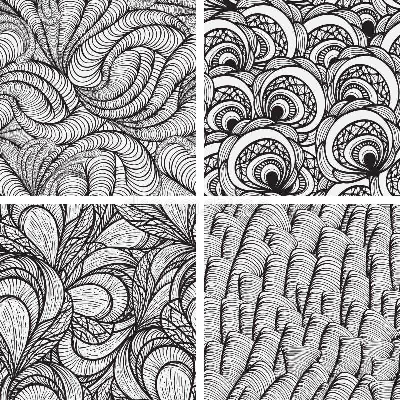 Vier nahtlose flippige Muster lizenzfreie abbildung
