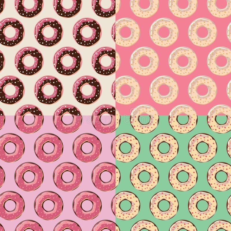 Vier nahtlose Muster mit bunten geschmackvollen glatten Schaumgummiringen vektor abbildung