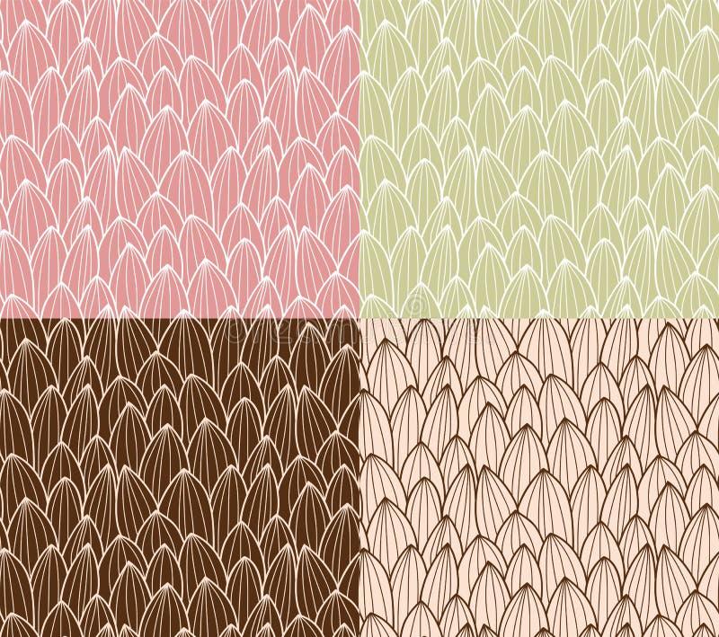 Vier nahtlose Muster mit Hand gezeichnetem Kaktusgitter stock abbildung