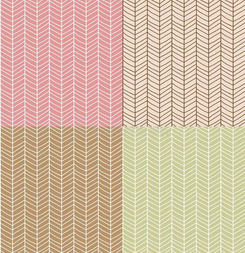 Vier nahtlose Muster mit Hand gezeichnetem Sparren zeichnen Gitter, Vektor vektor abbildung
