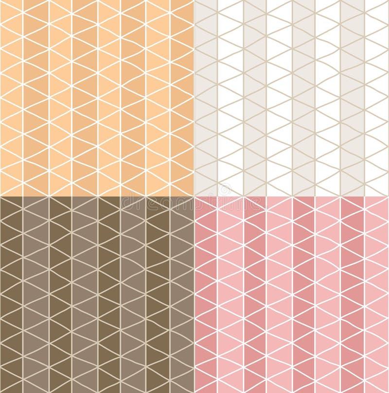 Vier nahtlose Muster mit Hand gezeichneter Linie Schachbrettmuster vektor abbildung
