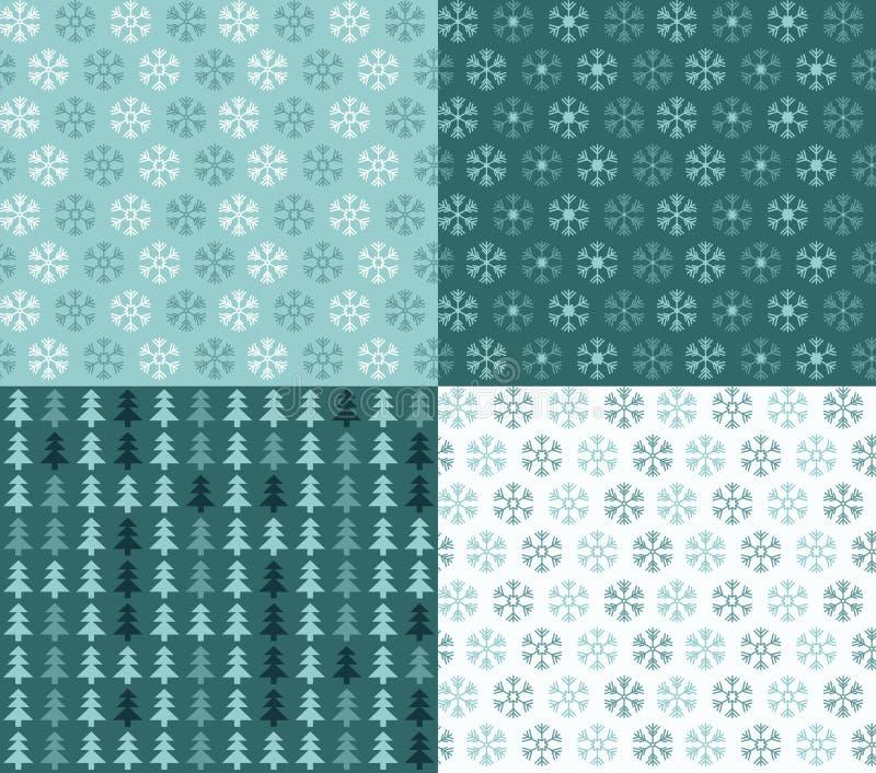 Vier nahtlose Weihnachtsmuster mit Schneeflocken und Bäumen vektor abbildung