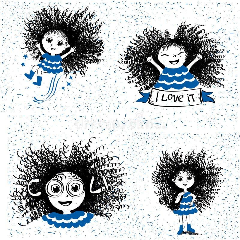 Vier nette Karikaturmädchen auf einem weißen Hintergrund lizenzfreie abbildung