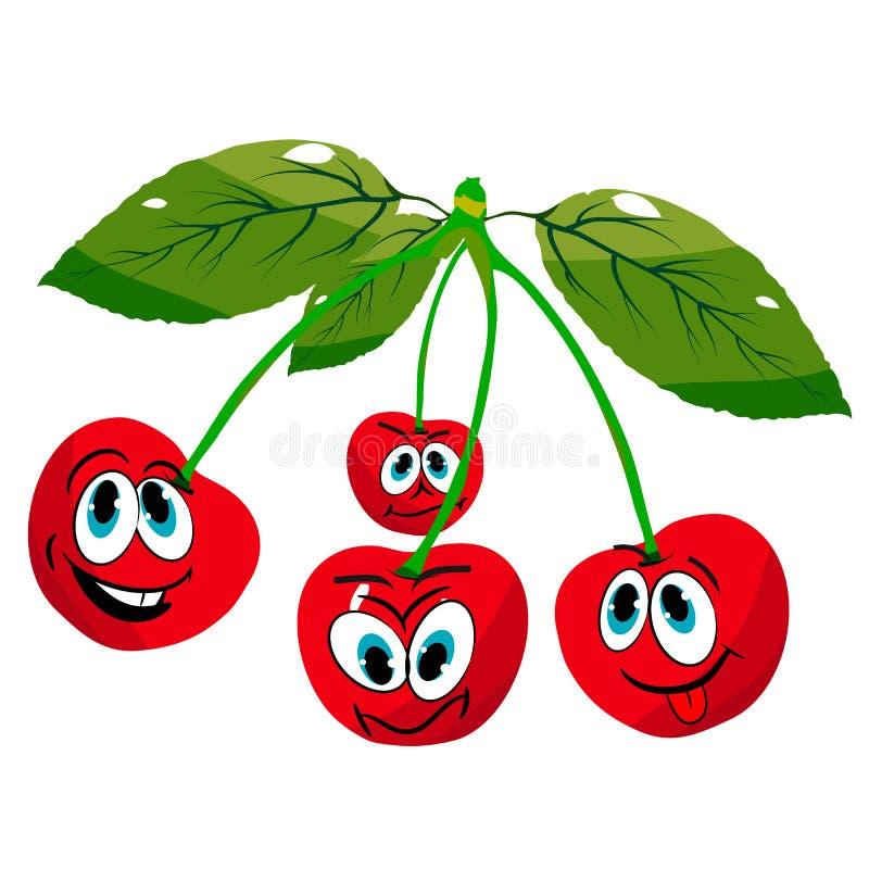 Vier nette Kirschen auf Zweigen, Karikatur auf einem weißen Hintergrund lizenzfreie stockfotografie