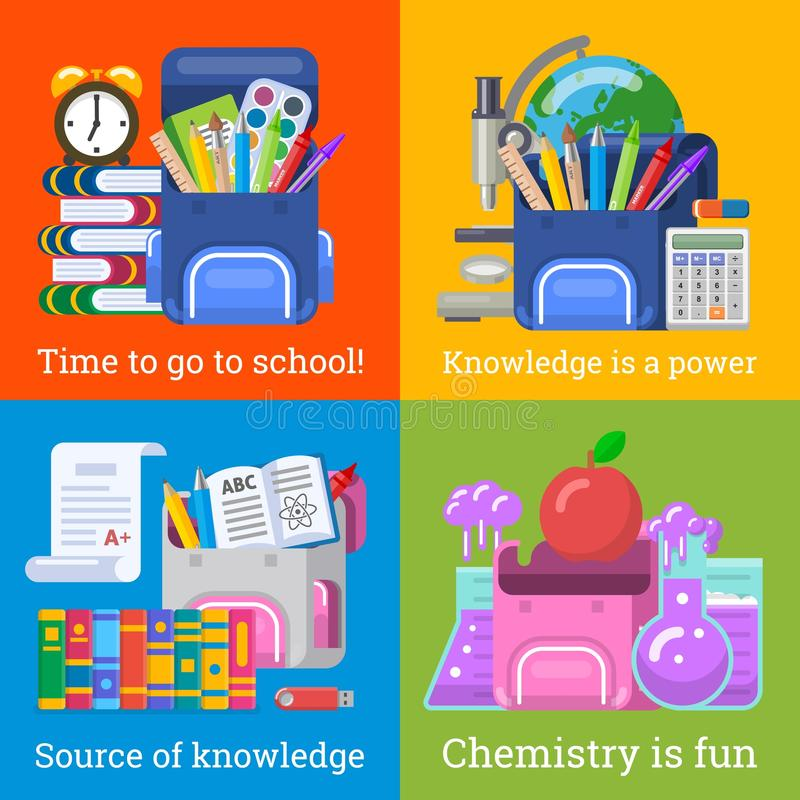 Vier nette Schulfahnen für Bildungsdesign stockfotos