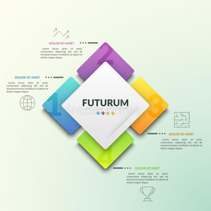 Vier nummerden vierkante die elementen rond centraal die element worden geplaatst en met pictogrammen en tekstvakjes door lijnen  royalty-vrije illustratie