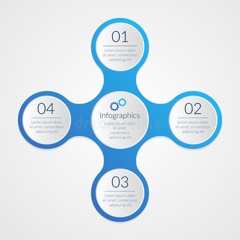 Vier Opties Infographics 1 achtergrond van 2 3 4 aantalsymbolen Blauwe en witte marketing stappen vectorillustratie stock illustratie