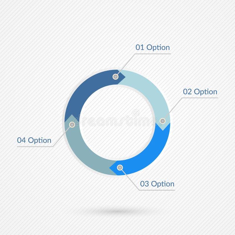 Vier Opties Infographics Geïsoleerde 1 2 3 het symbool van het 4 stapaantal Blauw grijs en wit vectorpictogram op abstracte lijna stock illustratie