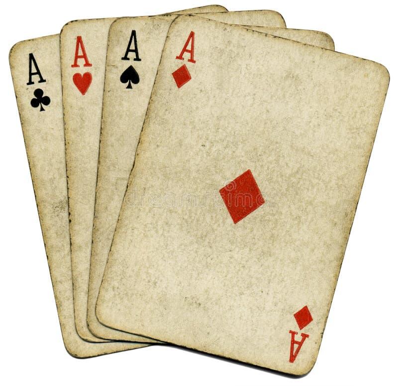 Vier oude vuile kaarten van de azenpook. royalty-vrije stock foto's