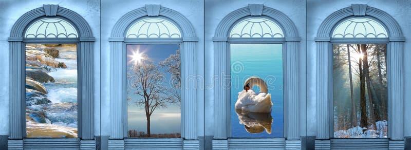 Vier overwelfde galerijen met mening aan landschap, gestemd blauw stock foto's