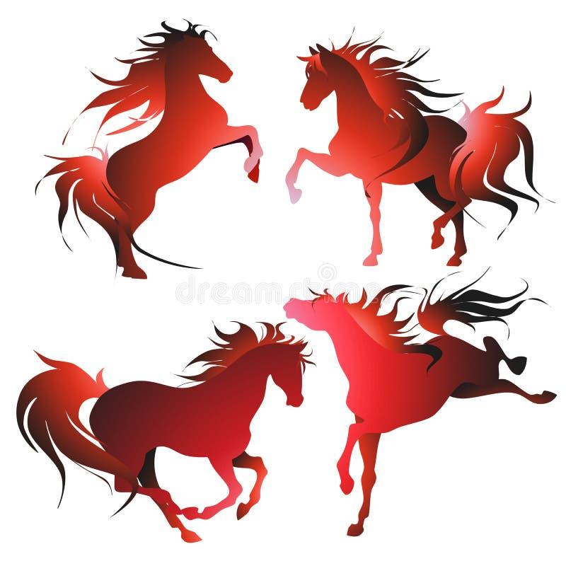 Vier paarden in  stock afbeeldingen