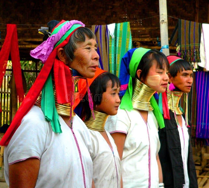 Vier Padaung Stamm-Damen lizenzfreie stockbilder