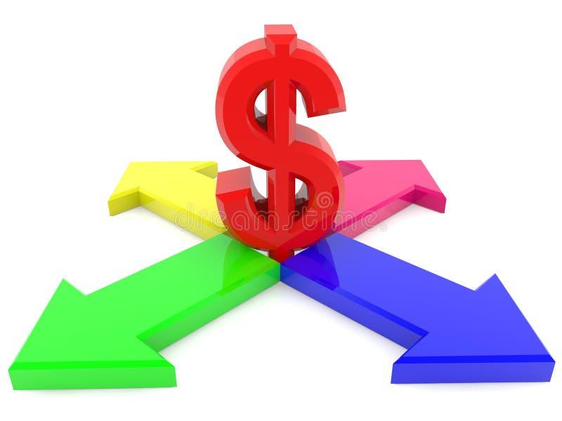 Vier Pfeile mit Dollarzeichen vektor abbildung