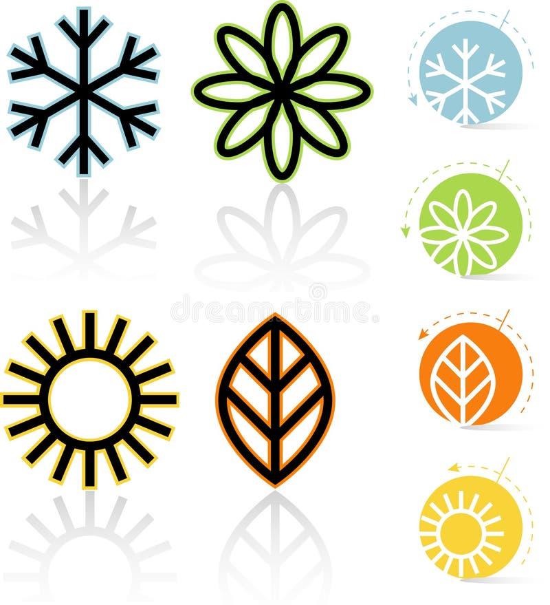 Vier Pictogrammen van Seizoenen vector illustratie