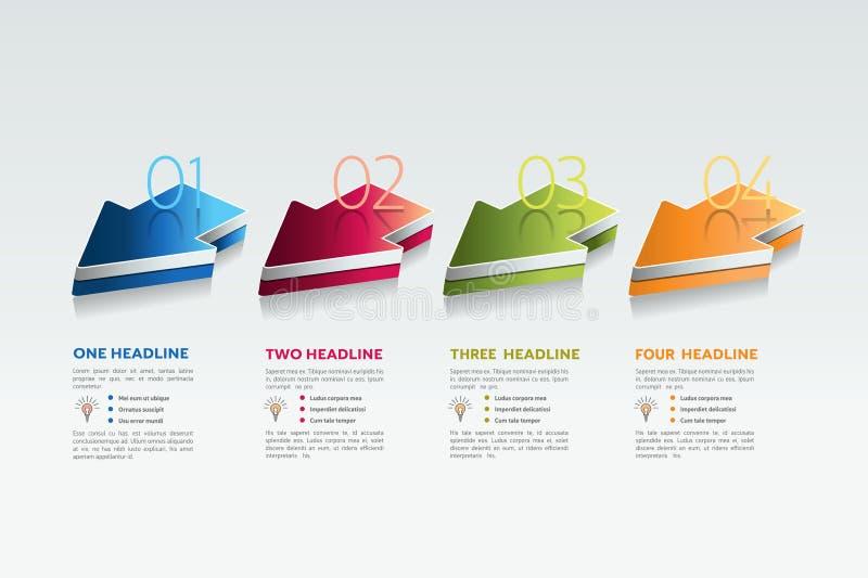 Vier pijlen 4 stappendiagram, elementen, grafieken, infographics vector illustratie
