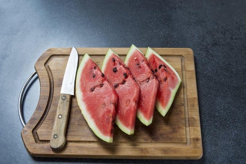 Vier Plakken van de Watermeloen stock afbeelding
