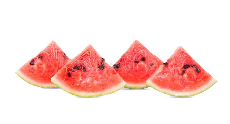 Vier plakken van sappige die watermeloen op de witte achtergrond wordt geïsoleerd De pulp van watermeloen is zich verfrist en bev royalty-vrije stock foto's