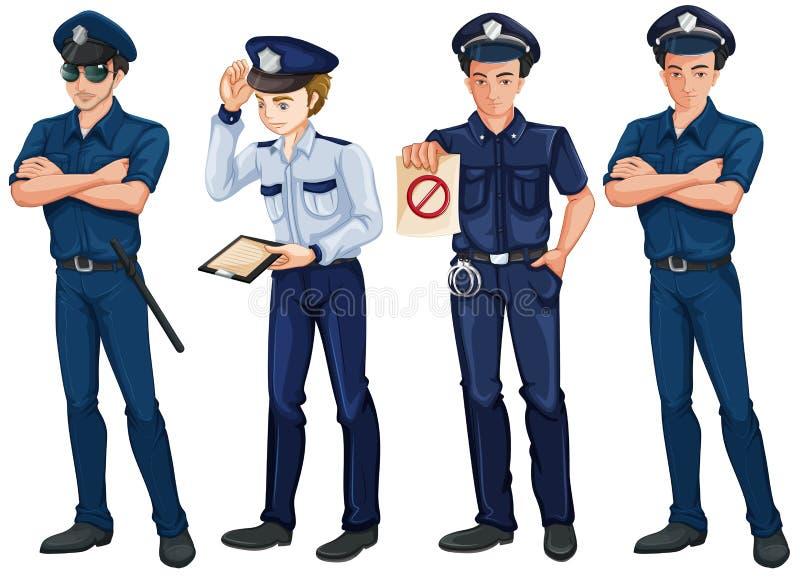 Vier Polizisten stock abbildung