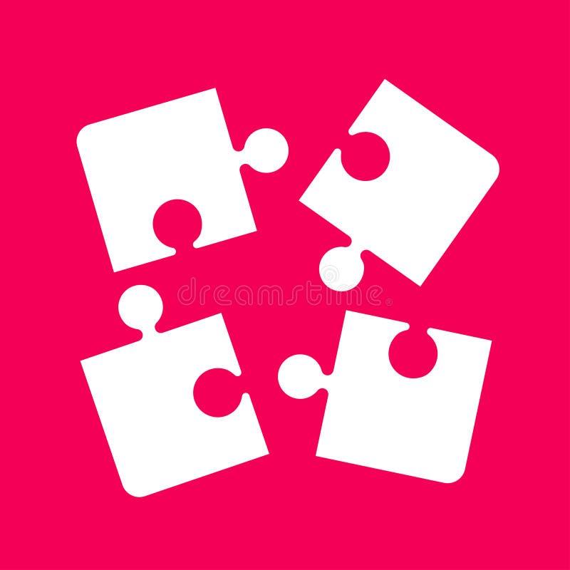 Vier Puzzlespiel-Puzzle-Gegenstände Puzzlespiel-Stücke lizenzfreie abbildung