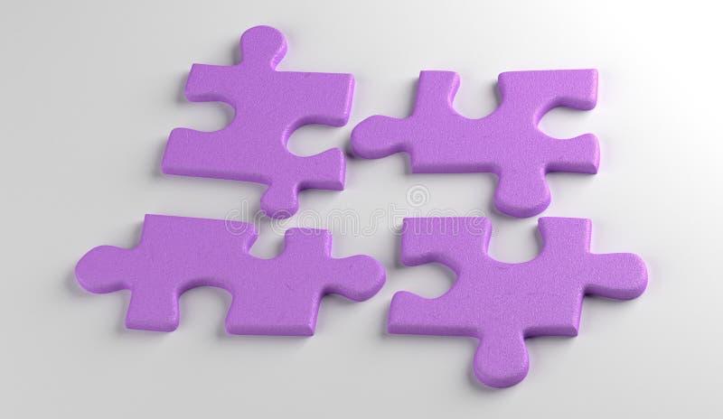 Vier Puzzlespiele Busniess-Konzept render lizenzfreies stockfoto