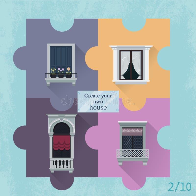 Vier Puzzlespiele mit Fenstern lizenzfreie stockfotos