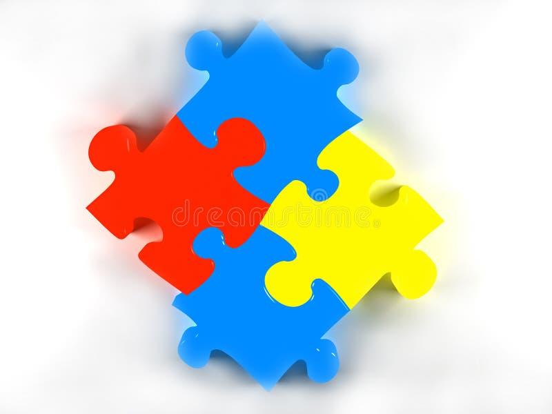 Vier Puzzlespielstücke stock abbildung