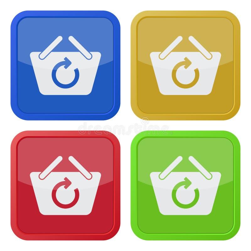 Vier quadratische Farbikonen, Einkaufskorb erneuern lizenzfreie abbildung