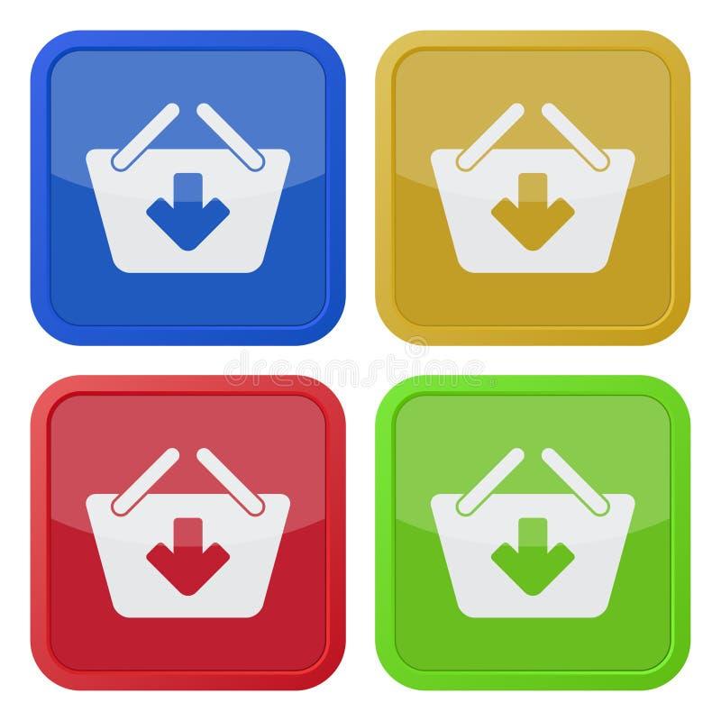 Vier quadratische Farbikonen, Einkaufskorb fügen hinzu lizenzfreie abbildung
