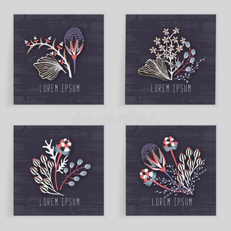 Vier quadratische Karten Hand gezeichnete kreative Blume Bunter künstlerischer Hintergrund mit Blüte Abstraktes Kraut lizenzfreie abbildung
