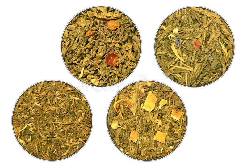 Vier rangen van groene thee royalty-vrije stock fotografie