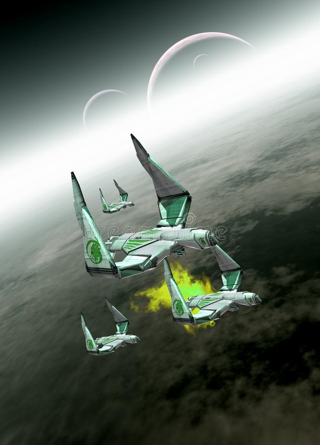 Vier Raumschiffe im Flug vektor abbildung