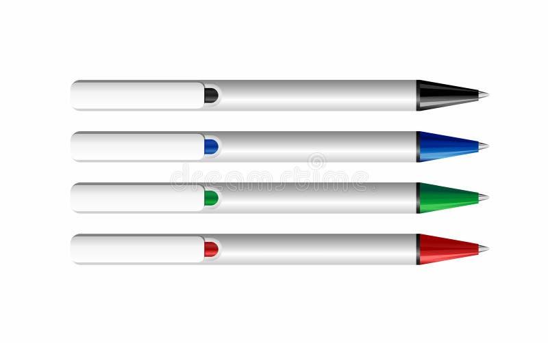 vier realistische pennen royalty-vrije illustratie
