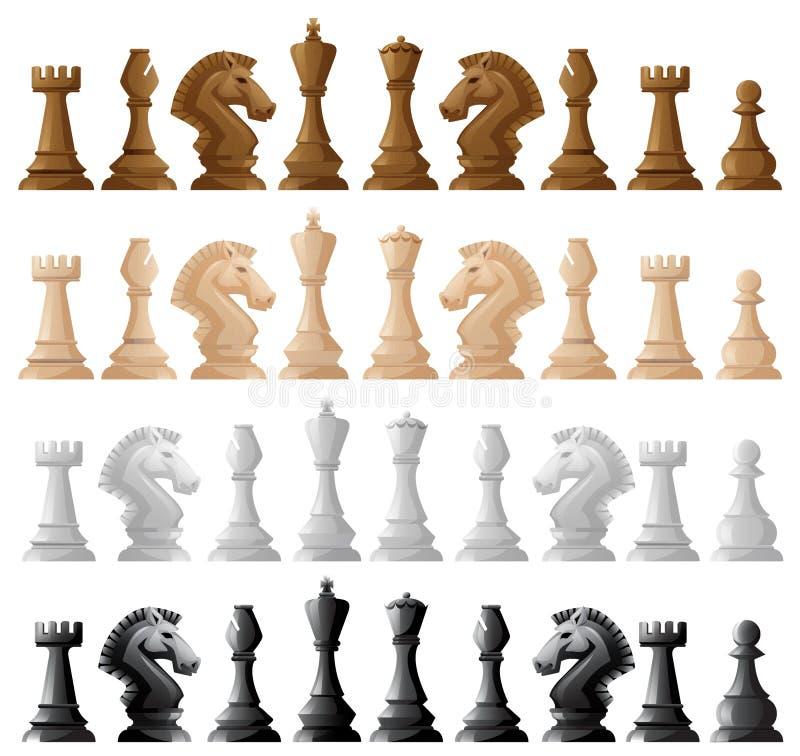 Vier reeks schaakstukken vector illustratie