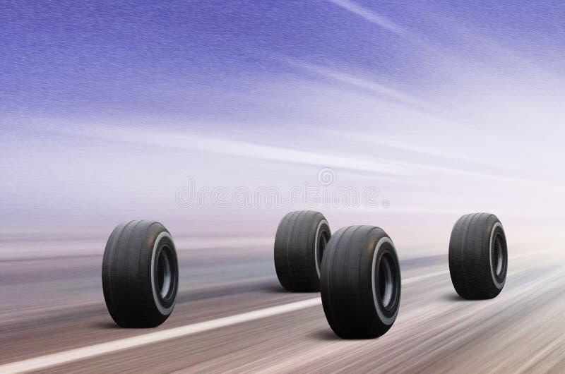 Vier Reifen auf Winterstraße vektor abbildung