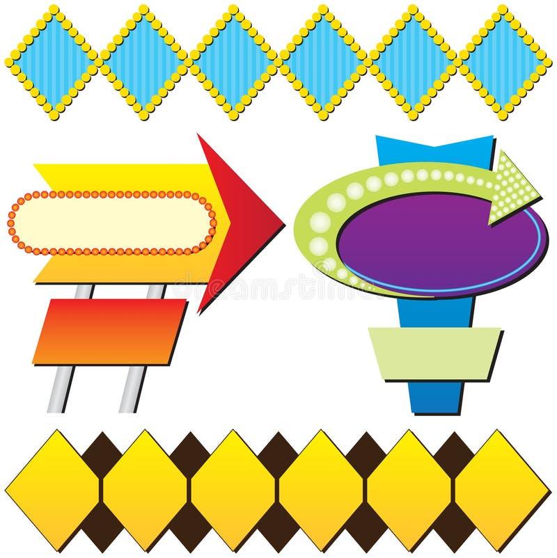 Vier Retro- bekanntmachende Zeichen vektor abbildung