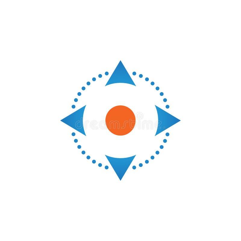 Vier Richtungspfeile steuern Knopfikonenvektor, feste Logoillustration, das Piktogramm, das auf Weiß lokalisiert wird lizenzfreie abbildung