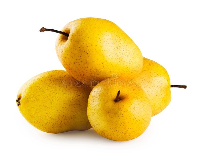 Vier rijpe gele peren stock foto's